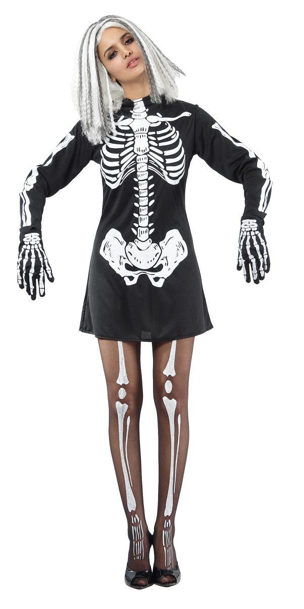 Photo du produit Déguisement squelette noir et blanc femme Halloween
