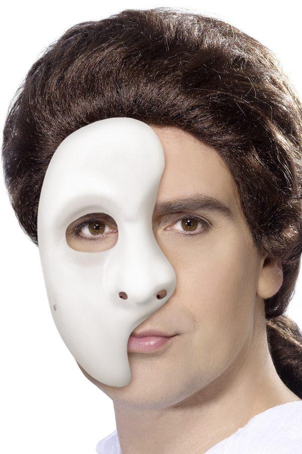 Photo du produit Demi-masque blanc en plastique adulte