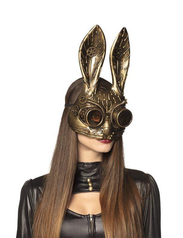 Photo du produit Demi masque lapin doré adulte Steampunk