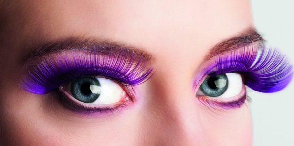 Photo du produit Faux cils longs violets adulte
