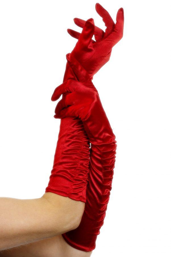 Photo du produit Gants mi-longs satinés rouges avec plis femme