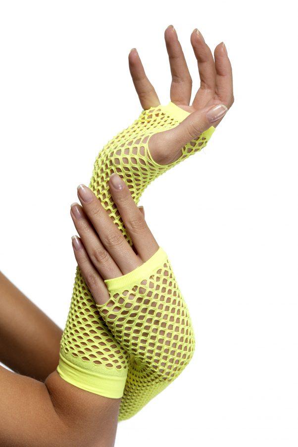 Photo du produit Mitaines longues jaune fluo résilles femme