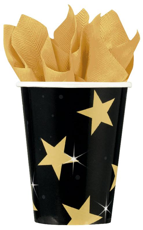Photo du produit Gobelets noir et or étoilée