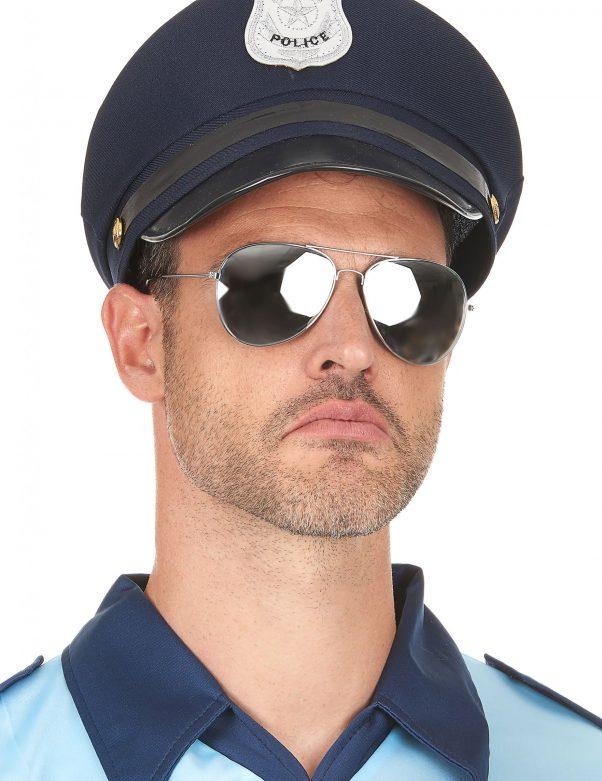 Photo du produit Lunettes noires d'aviateur contour argent adulte