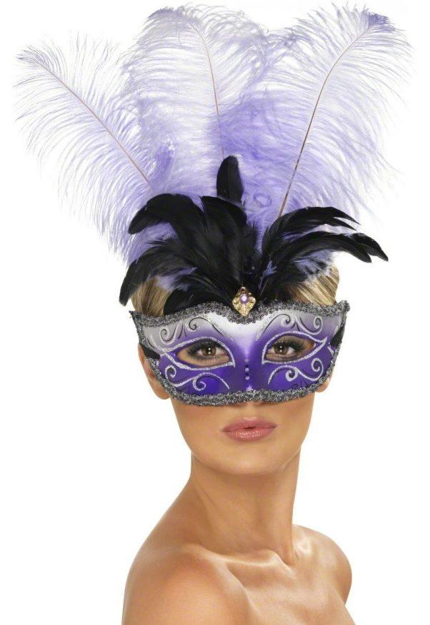 Photo du produit Loup vénitien violet avec grandes plumes noire et violette adulte