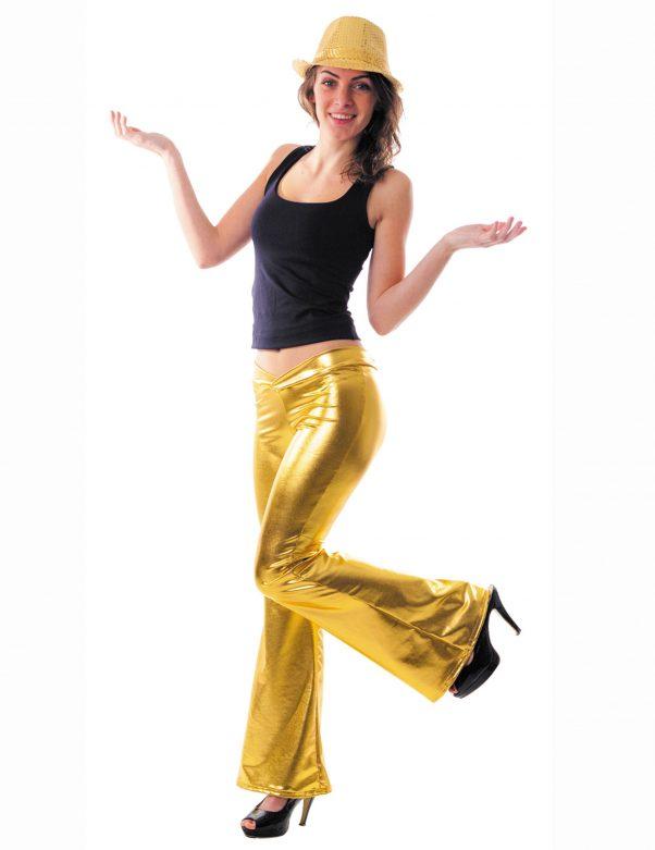 Photo du produit Pantalon disco holographique or femme