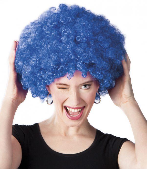 Photo du produit Perruque afro disco bleue volume adulte