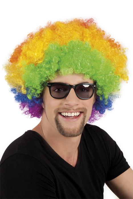 Photo du produit Perruque afro disco clown multicolore volume adulte