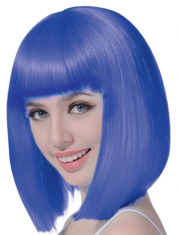 Photo du produit Perruque carré mi-long bleue femme