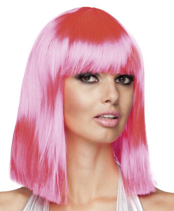 Photo du produit Perruque carré mi-long rose à frange femme