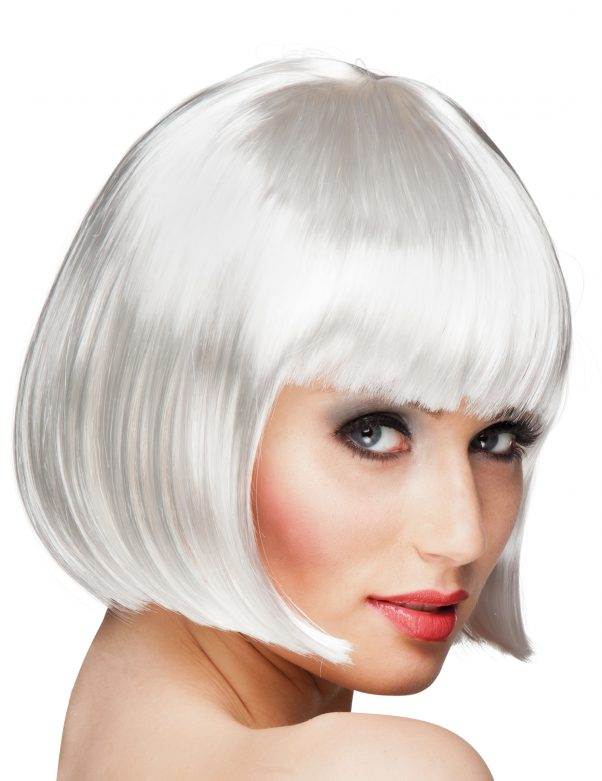 Photo du produit Perruque courte à frange blanche femme