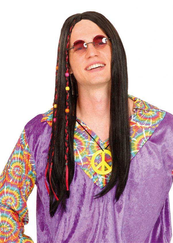 Photo du produit Perruque hippie noire homme