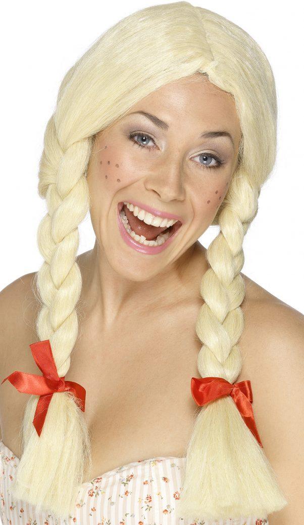 Photo du produit Perruque écolière blonde à nattes femme