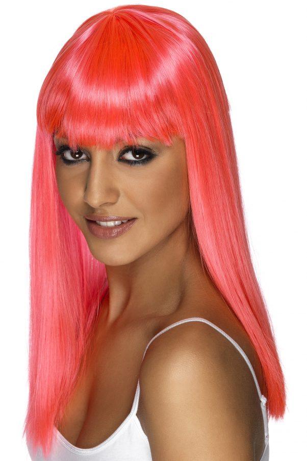 Photo du produit Perruque longue rose à frange femme