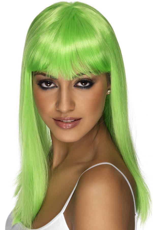 Photo du produit Perruque longue verte fluo à frange femme
