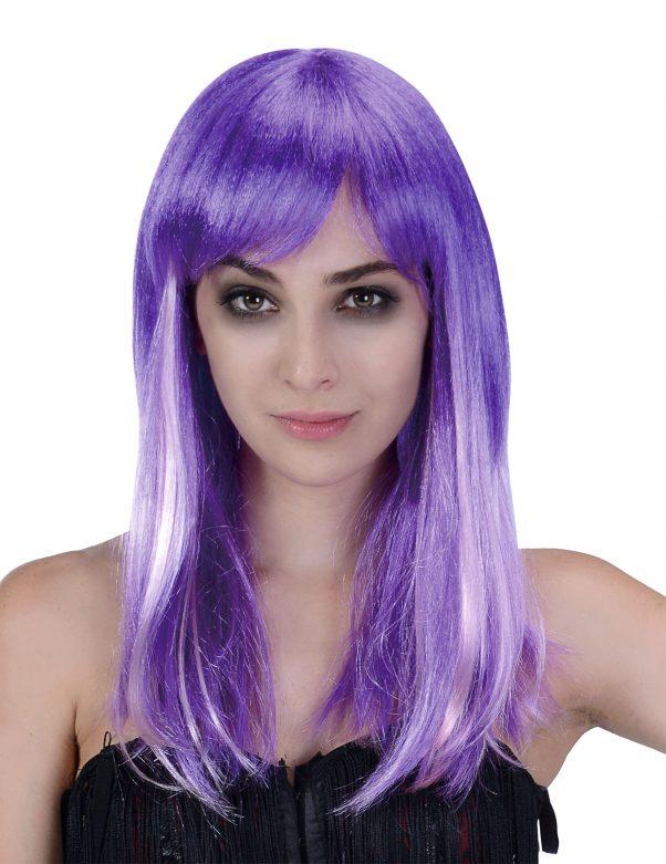 Photo du produit Perruque longue violette et blanche femme