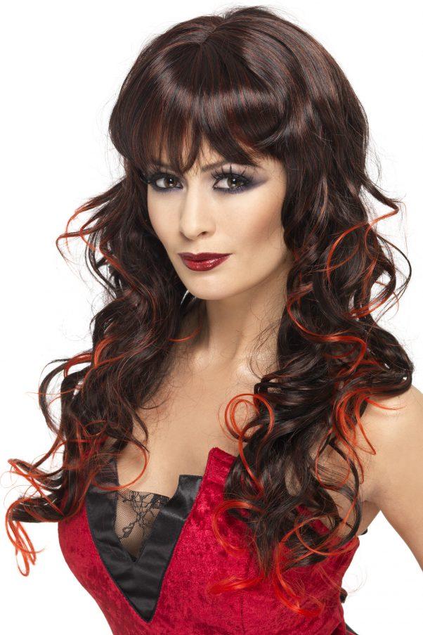 Photo du produit Perruque longue noire avec mèches rouges femme