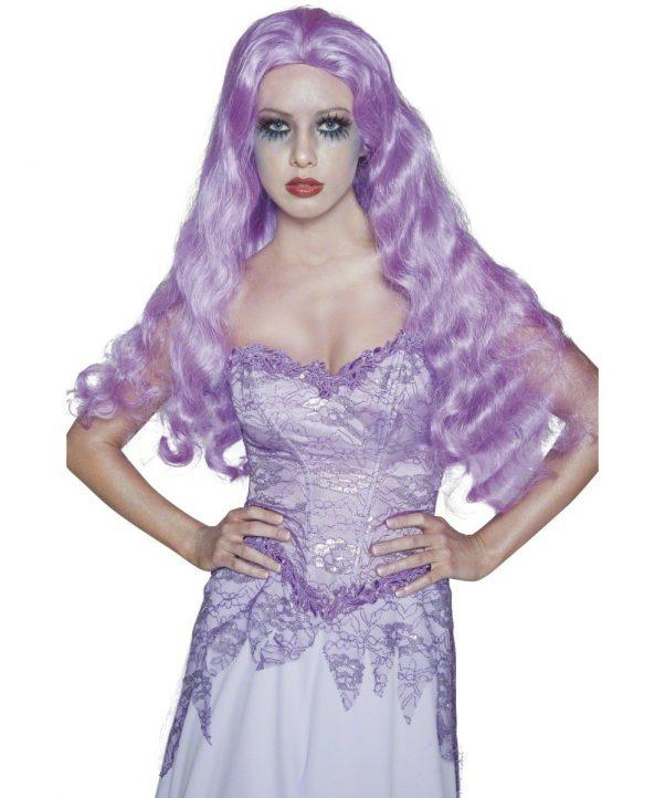 Photo du produit Perruque longue gothique violette femme Halloween