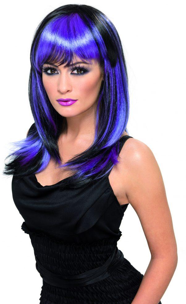 Photo du produit Perruque longue noire et violette femme