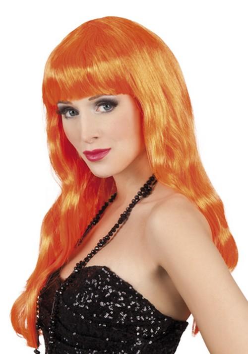 Photo du produit Perruque longue orange fluo à frange Femme