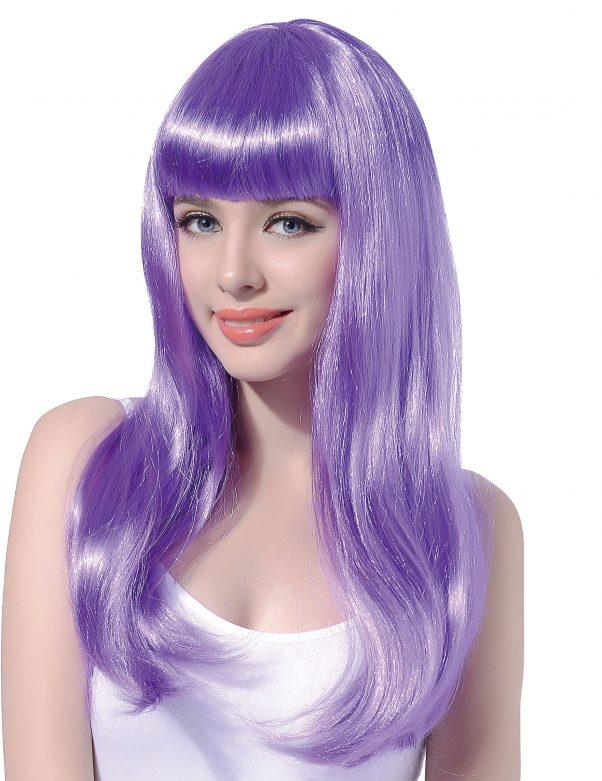 Photo du produit Perruque longue violette pâle à frange femme