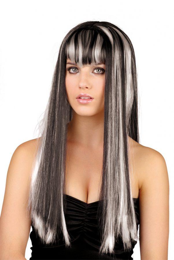 Photo du produit Perruque longue noire et blanche femme