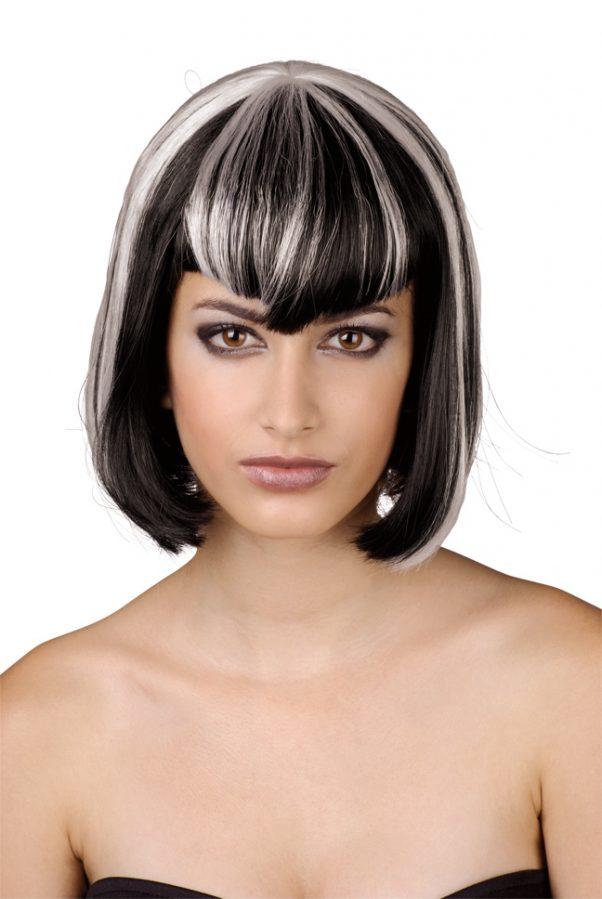 Photo du produit Perruque à frange noire et blanche femme