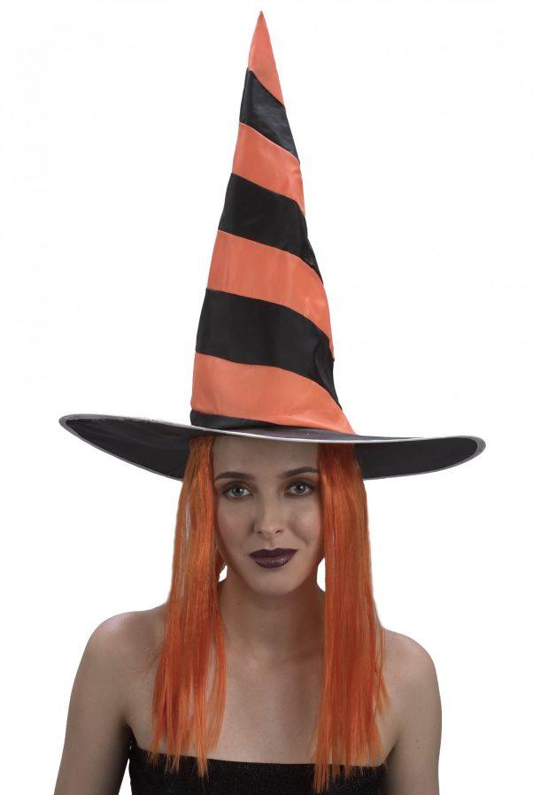 Photo du produit Chapeau avec perruque sorcière femme Halloween