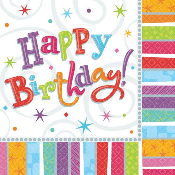 Photo du produit 16 Serviettes en papier Happy Birthday coloré 33 x 33 cm