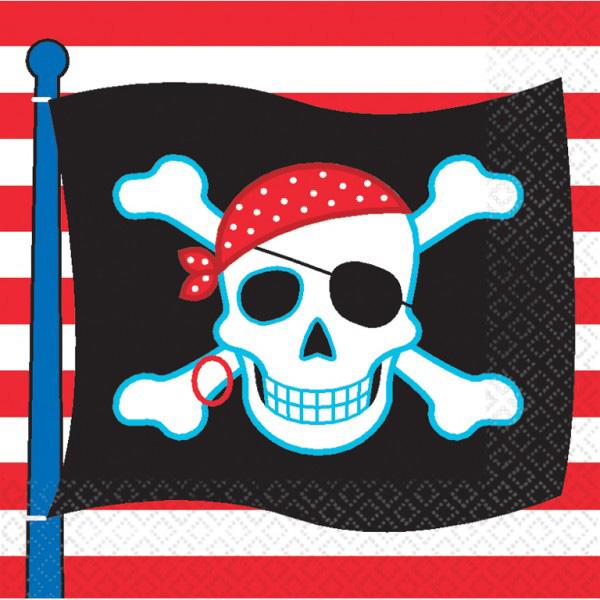 Photo du produit 16 Serviettes en papier drapeau pirate 33 x 33 cm